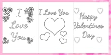 Australia - Valentine's Day Card Colouring Templates