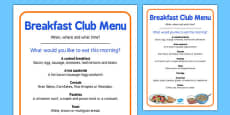 Elderly Care Hydration and Nutrition Week Breakfast Club Menu