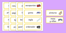 Classroom Word Cards Spanish