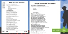 Remembrance Day Creativity Lesson 4 How to Write a War Poem Activity Sheet
