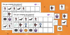 Halloween Complete the Pattern Worksheet Arabic Translation