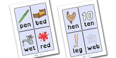 CVC Word Cards E Dyslexia