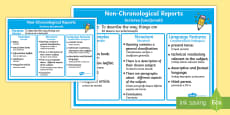 Non-Chronological Report Examples Poster -  Romanian/English