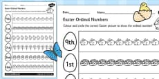 Easter Themed Ordinal Numbers Activity Sheet