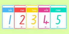 Numbers 1-20 Cards Te Reo Māori