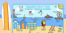 Seaside Themed Scene Word Mat Romanian Translation