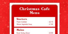 Christmas Cafe Role Play Menu