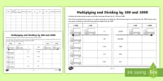 * NEW * Multiplying and Dividing by 100 and 1000 Activity Sheet