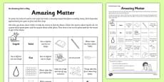 Amazing Matter Activity Sheet