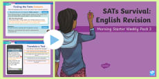 * NEW * SATs Survival: Year 6 English Revision Morning Starter Weekly PowerPoint Pack 3
