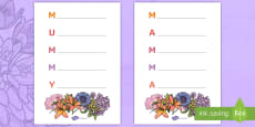 * NEW * Mother's Day Acrostic Poem Template English/Italian