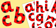 Paper Saving Red with Black Spots Display Alphabet Numbers and Symbols