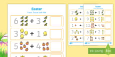 Easter Trace, Count and Add Activity Sheet