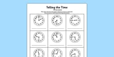 O\'clock Half Past and Quarter To Times Activity Sheet Romanian Translation