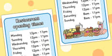 Restaurant Role Play Opening Times