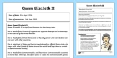 Queen Elizabeth II Differentiated Fact File