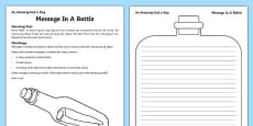 Message In A Bottle Activity Sheet