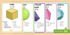 3D Shape Display Posters - English/Mandarin Chinese