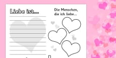 Valentine's Day Activity Sheet German