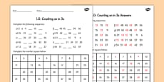Counting in 3's Activity Sheet
