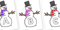 A-Z Alphabet on Snowman