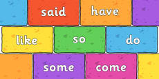 Phase 4 Tricky Words on Multicoloured Bricks