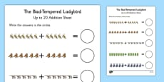 Up to 20 Addition Sheet to Support Teaching on The Bad Tempered Ladybird