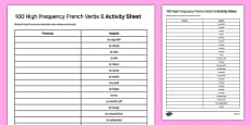 100 High Frequency French Verbs Activity Sheet 6