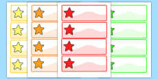 Editable Multicoloured Stars Labels