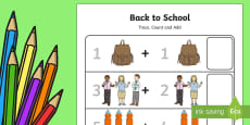 Back to School Trace, Count and Add Up to 10 Activity Sheet