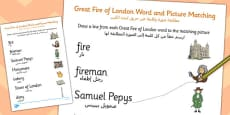 The Great Fire of London Word and Picture Matching Worksheet Arabic Translation