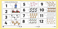 Farm-Themed Counting and Matching Puzzle