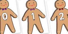 Numbers 0-50 on Gingerbread Man