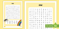 'ow' Digraph Differentiated Word Search