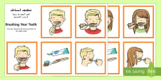 Brushing Your Teeth Sequencing Cards Arabic/English