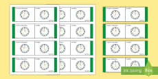 Time, O'Clock Loop Cards - Gaeilge