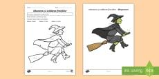 Colorează vrăjitoarea după codul adunărilor și scăderilor cu fracții
