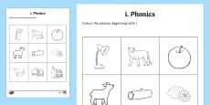 l Phonics Colouring Activity Sheet