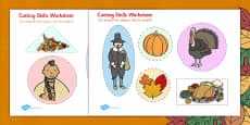 Thanksgiving Cutting Skills Activity Sheet