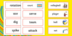 The Olympics Volleyball Word Cards