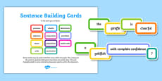 Sentence Building Blocks Word Cards