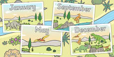 Dinosaur Themed Months of the Year Posters