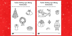 Christmas Dictionary Work Colouring Sheets Gaeilge