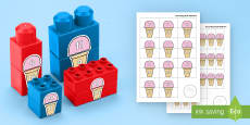 Ice Cream Number Bonds to 20 Matching Connecting Bricks Game