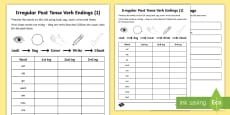 Year 2 Spelling Practice Irregular Past Tenses (1) Homework Activity Sheet