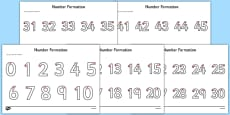 Number Formation Activity Sheets Pack