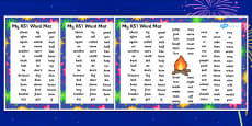 Bonfire Night Firework Themed KS1 Word Mat