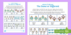 * NEW * Space Themed Same or Different Activity Sheet Arabic/English