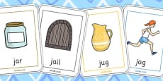 Initial j Sound Playing Cards