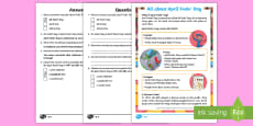 KS1 April Fools' Day Differentiated Reading Comprehension Activity
